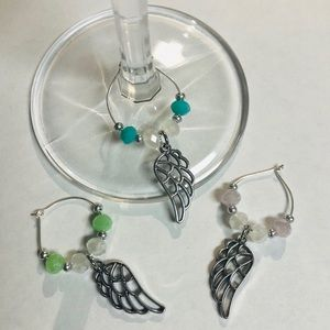 Angel wing wine glass charms